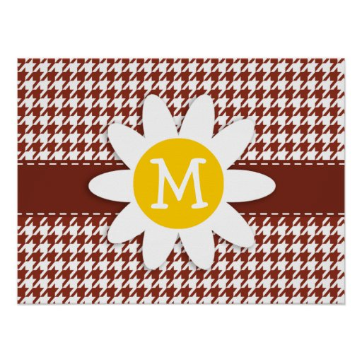 Cute Daisy on Burnt Umber Houndstooth Posters