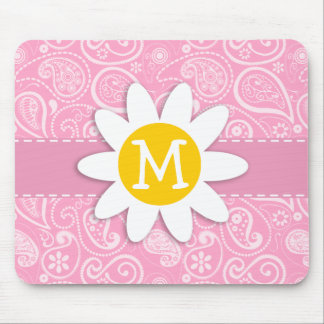 Cute Daisy on Carnation Pink Paisley Mousepad