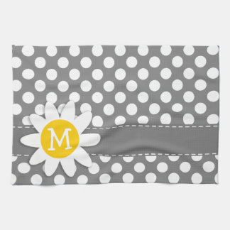 Cute Daisy on Dark Gray Polka Dots Kitchen Towel