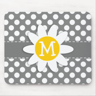 Cute Daisy on Dark Gray Polka Dots Mouse Pads