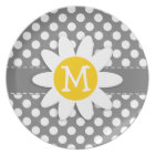 Cute Daisy on Dark Grey Polka Dots Plate
