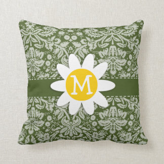 Cute Daisy on Dark Moss Green Damask Throw Pillow