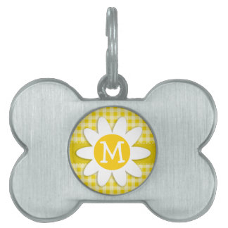 Cute Daisy on Golden Yellow Gingham Pet Name Tag