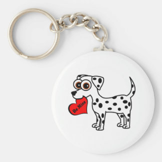 Cute Dalmatian Cartoon Be Mine Heart Basic Round Button Keychain