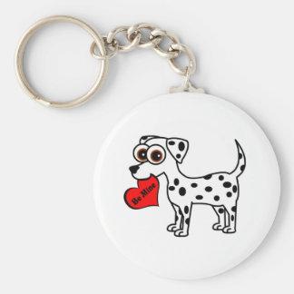 Cute Dalmatian Cartoon Be Mine Heart Keychain