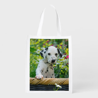 Cute Dalmatian Dog Cute Puppy Photo, reuseable Reusable Grocery Bag