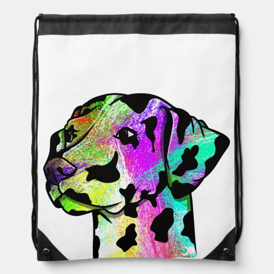 Cute Dalmatian Dog Head Drawstring Bag