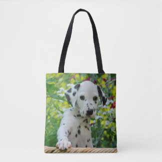 Cute Dalmatian Dog Puppy Portrait Photo - Shopper Tote Bag