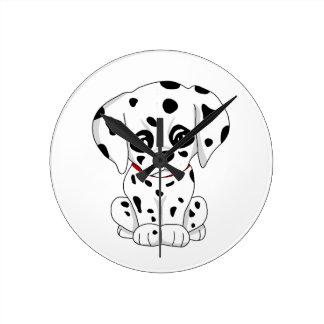 Cute Dalmatian puppy Round Clock
