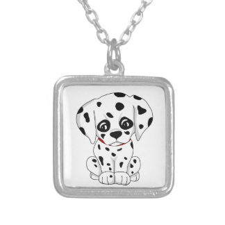 Cute Dalmatian puppy Silver Plated Necklace