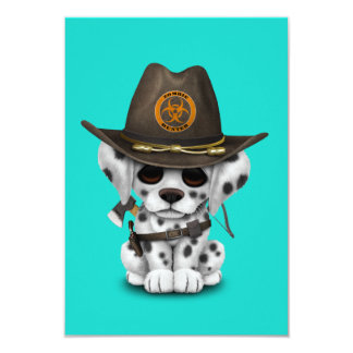 Cute Dalmatian Puppy Zombie Hunter Card