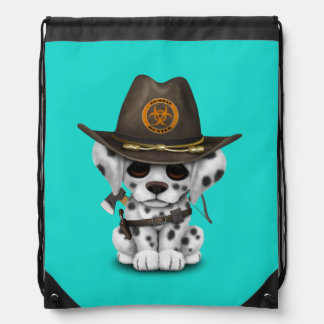 Cute Dalmatian Puppy Zombie Hunter Drawstring Bag