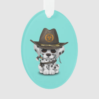 Cute Dalmatian Puppy Zombie Hunter Ornament