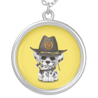 Cute Dalmatian Puppy Zombie Hunter Silver Plated Necklace
