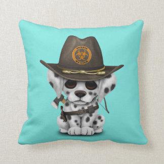 Cute Dalmatian Puppy Zombie Hunter Throw Pillow