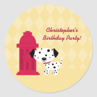 Cute dalmation doggie birthday party stickers