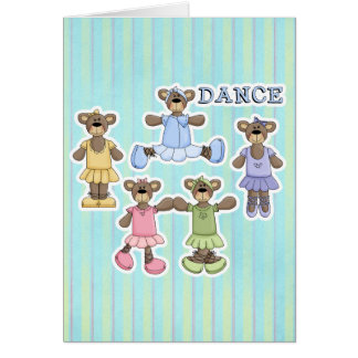 Cute Dancing Ballerina Bears Card