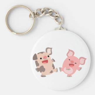 Cute Dancing Cartoon Pigs Keyring Basic Round Button Keychain