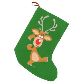 Cute Dancing Cartoon Reindeer Christmas Stocking