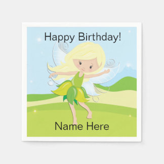 Cute Dancing Fairy Nymph Personalized Disposable Napkins