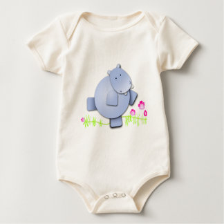 Cute Dancing Hippo Baby Bodysuit