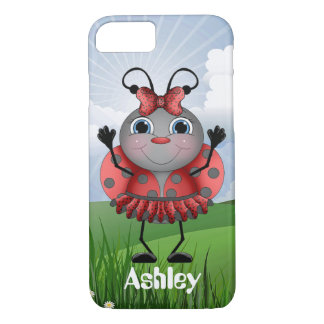 Cute Dancing Ladybug add name iPhone 7 case