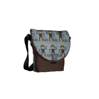 Cute dancing monkey pattern, blue, brown messenger bags