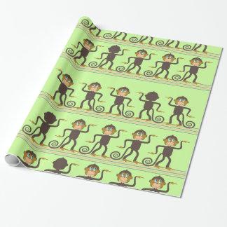 Cute dancing monkey pattern, light green
