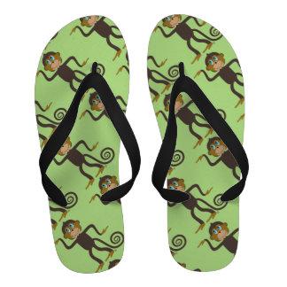 Cute dancing monkey pattern light green flip flops