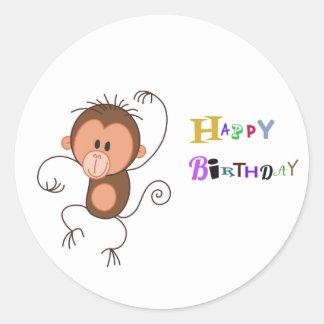 Cute Dancing Monkey Round Sticker