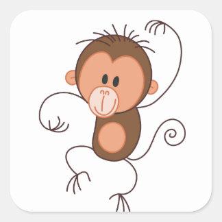 Cute Dancing Monkey Square Sticker