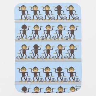 Cute dancing monkeys pattern blue boy's room baby blankets
