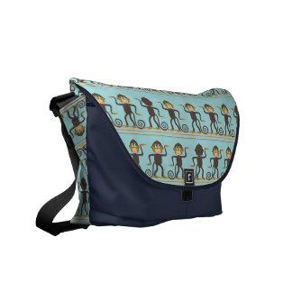Cute dancing monkeys pattern blue brown courier bag