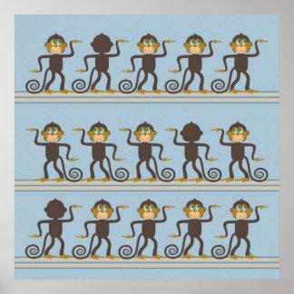 Cute dancing monkeys pattern, boy's room poster