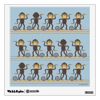 Cute dancing monkeys pattern, boy's room wall decal