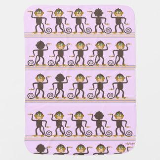 Cute dancing monkeys pattern pink girl's room stroller blanket