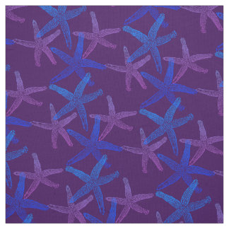 Cute Dancing starfish star fish blue purple Fabric