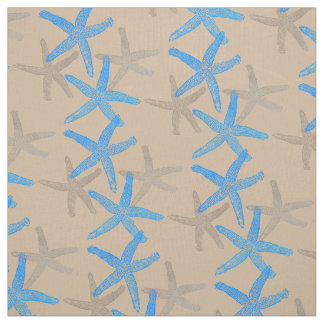 Cute Dancing starfish star fish blue taupe sand Fabric
