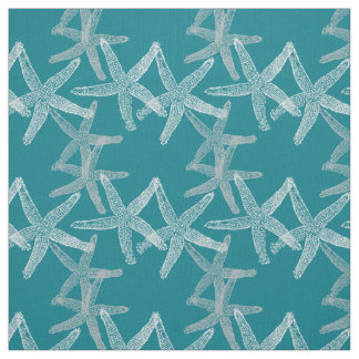 Cute Dancing starfish star fish fabric white teal