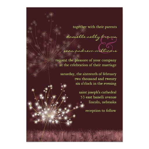 Cute Dandelion Burgundy Floral Wedding Invitations