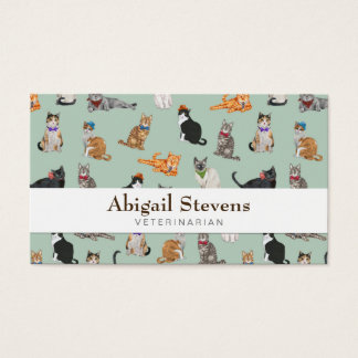 Cute Dapper Kitties Cat Pattern Business Card