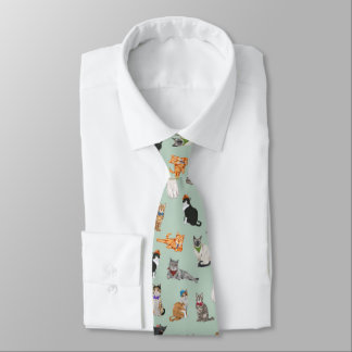 Cute Dapper Kitties Cat Pattern Tie