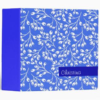 Cute dark blue and white autumn berries binder