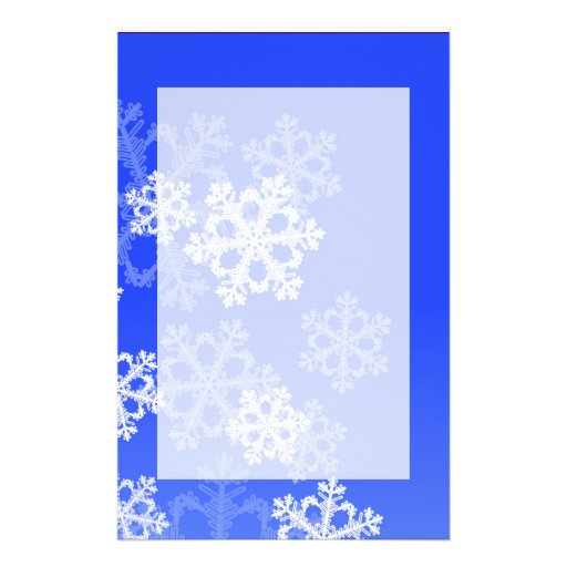 Cute dark blue and white Christmas snowflakes Stationery Paper