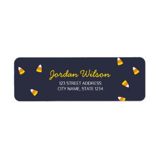 Cute Dark Blue Halloween Candy Corn Address Return Address Label