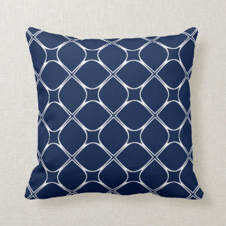 Cute Dark Nautical Blue Retro Mod Squares Pattern Throw Pillow