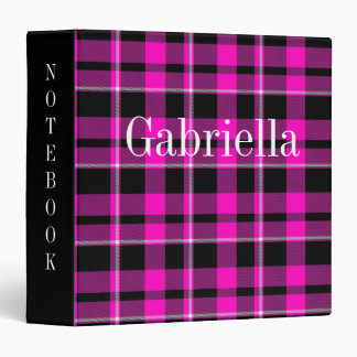 Cute Dark Pink & Black Plaid/Tartan Binder