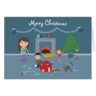 Cute Decorating The Tree Christmas Greeting Card