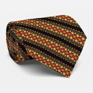Cute decorative ukrainian floral patterns design tie