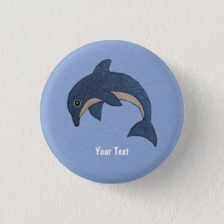 Cute Deep Blue Sparking Jumping Dolphin 1 Inch Round Button